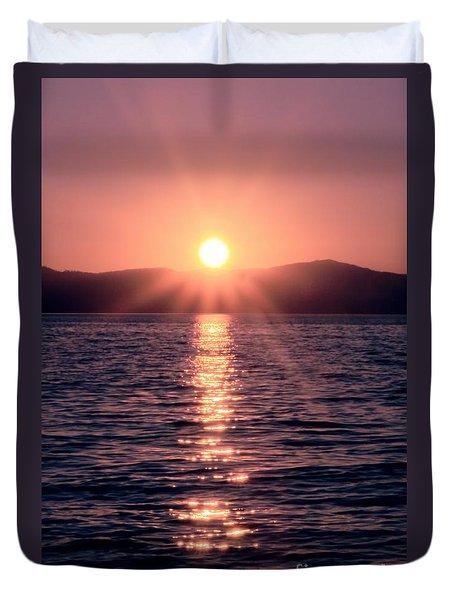 Sunset Lake Verticle Duvet Cover