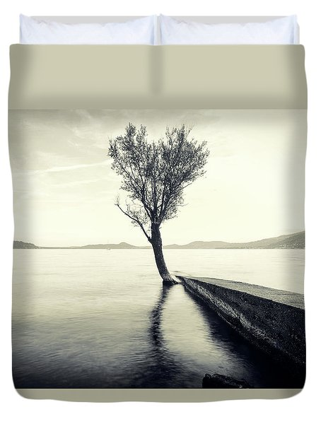 Sunset Landscape With A Tree In The Background Immersed In The L Duvet Cover