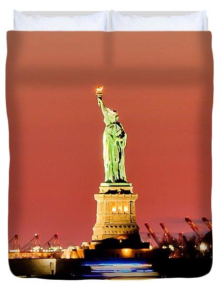 Sunset Liberty Duvet Cover by Az Jackson