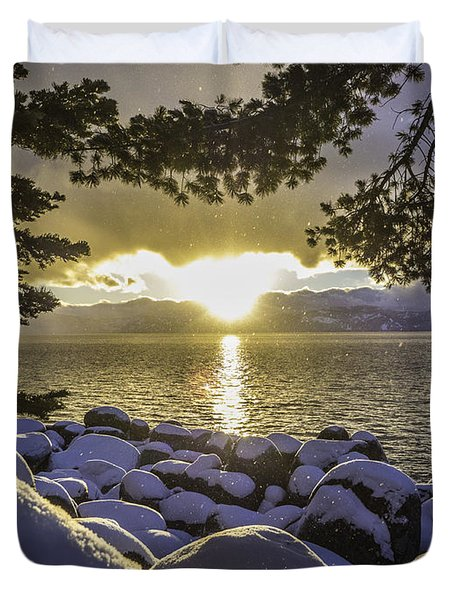 Sunset Light Lake Tahoe Duvet Cover