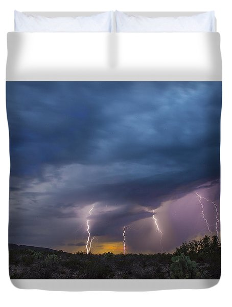 Duvet Cover featuring the tapestry - textile Sunset Lightning by Kathy Adams Clark