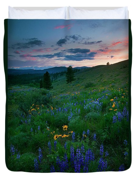 Sunset Meadow Trail Duvet Cover by Mike  Dawson