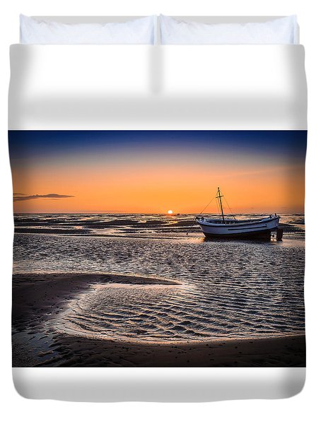 Sunset, Meols Beach Duvet Cover