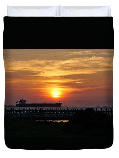 Sunset Mobile Bay Duvet Cover by Sandy Keeton