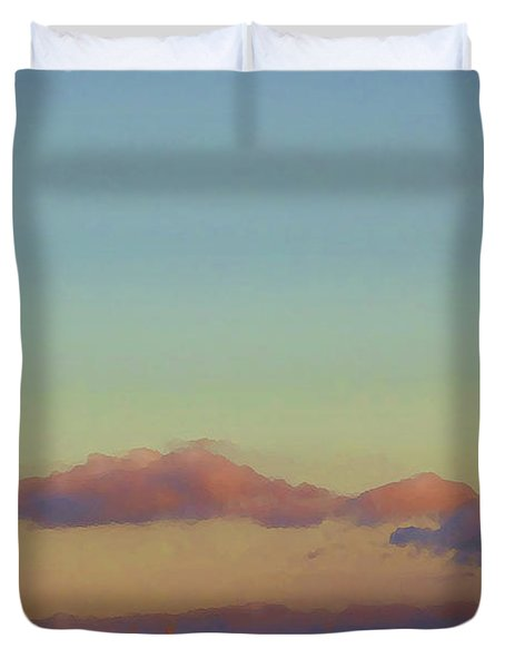Sunset Moonrise With Windmill  Duvet Cover