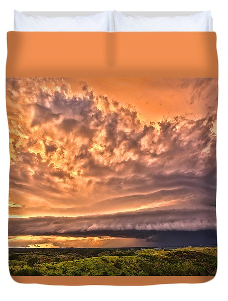 Duvet Cover featuring the photograph Sunset Mothership by James Menzies