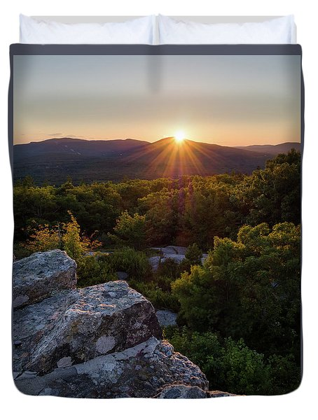 Duvet Cover featuring the photograph Sunset, Mt. Battie, Camden, Maine 33788-33791 by John Bald
