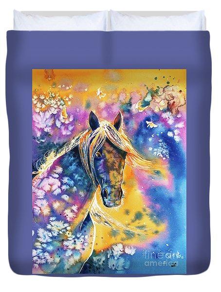 Duvet Cover featuring the painting Sunset Mustang by Zaira Dzhaubaeva