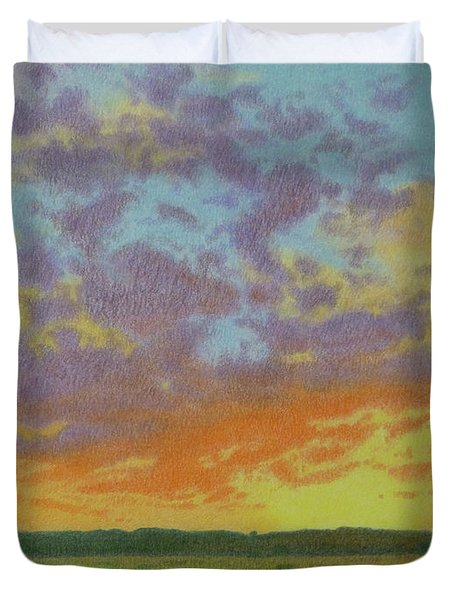 Sunset Near Miles City Duvet Cover