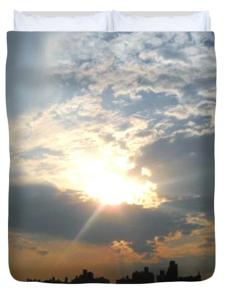 Sunset New York  Duvet Cover