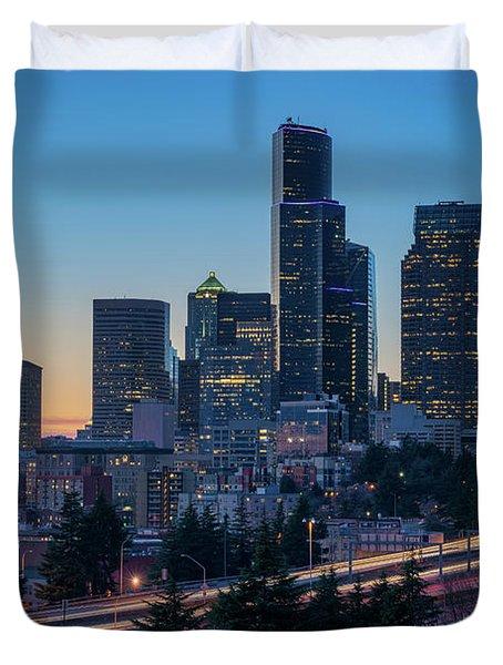 Sunset Night-freeway Lights Duvet Cover