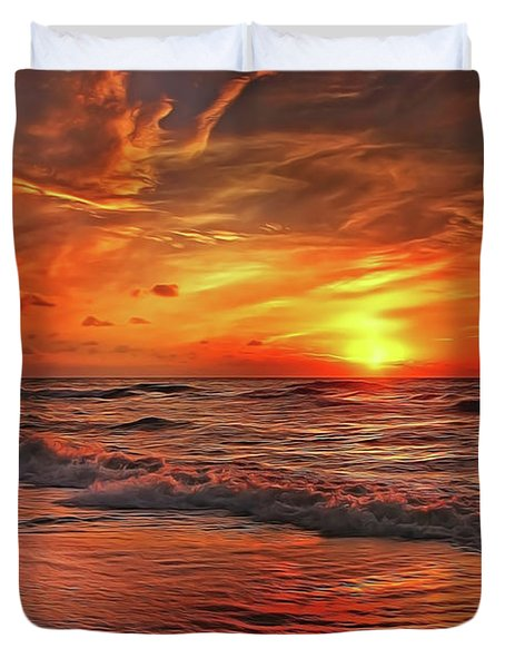 Duvet Cover featuring the painting Sunset Ocean Dance by Harry Warrick