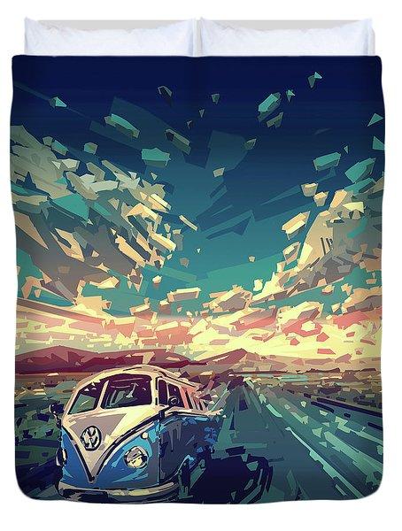 Sunset Oh The Road Duvet Cover by Bekim Art