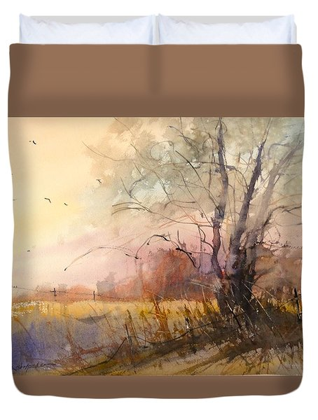 Sunset On 108th Duvet Cover by Sandra Strohschein