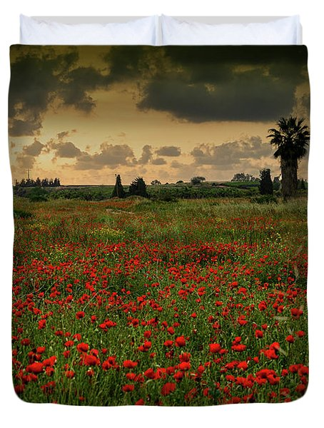 Sunset On A Poppies Field Duvet Cover