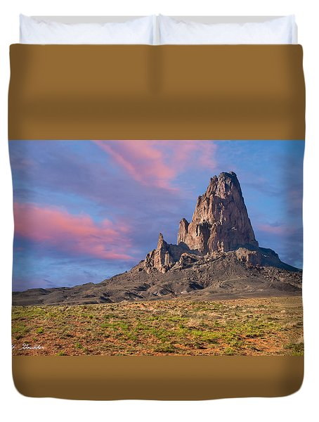 Sunset On Agathla Peak Duvet Cover