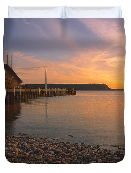 Sunset On Anderson's Dock - Door County Duvet Cover