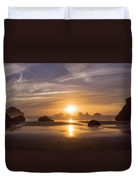 Sunset On Bandon Beach Duvet Cover