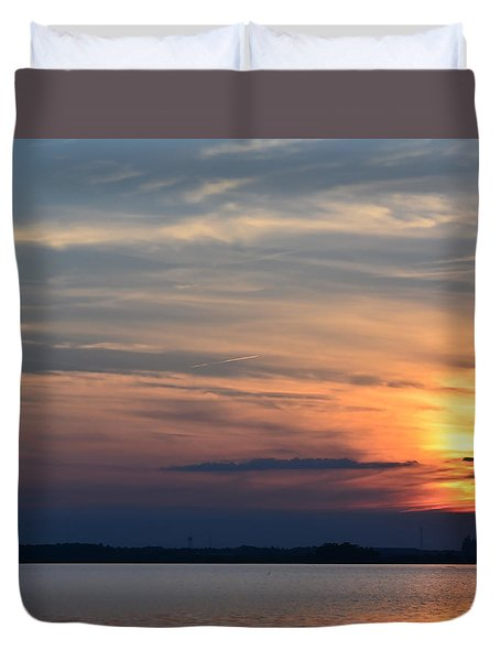 Sunset On Bay 2 Duvet Cover by Cathy Jourdan