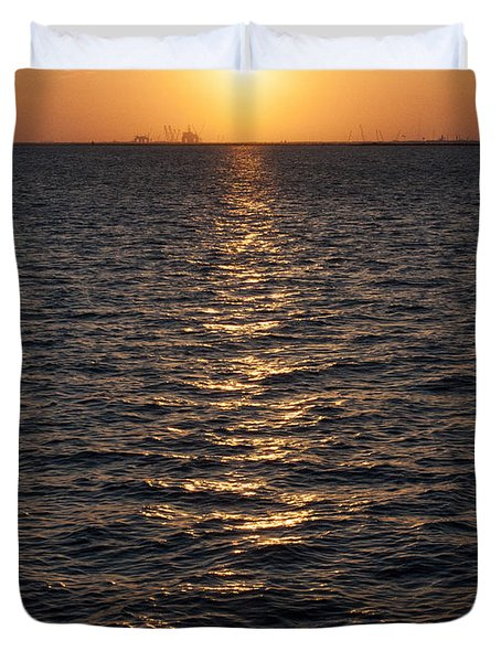 Sunset On Bay Duvet Cover