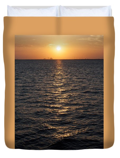 Sunset On Bay Duvet Cover