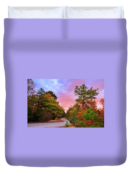 Sunset On Bombing Run Road Duvet Cover