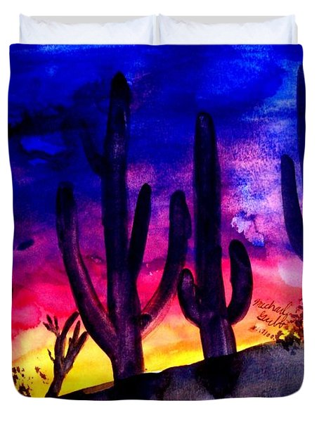 Sunset On Cactus Duvet Cover by Michael Grubb