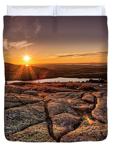Sunset On Cadillac Mountain Duvet Cover