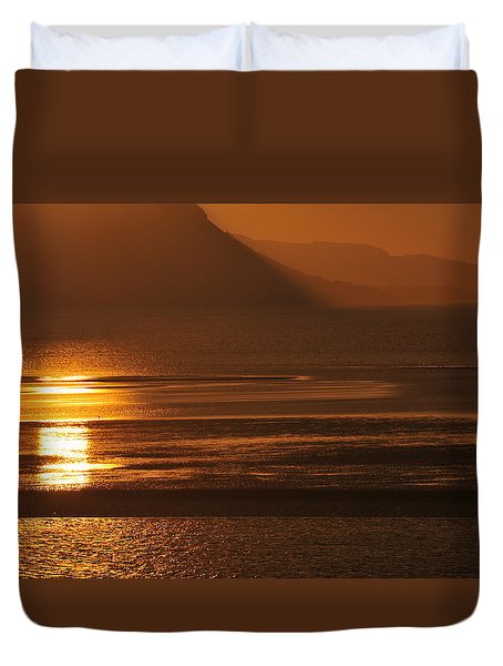 Duvet Cover featuring the photograph Sunset On Coast Of North Wales by Harry Robertson