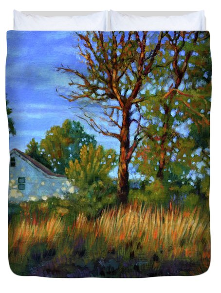 Sunset On Country Home Duvet Cover by John Lautermilch