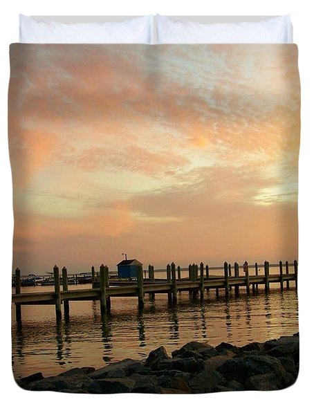 Sunset On Dewey Bay Duvet Cover