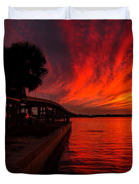 Sunset On Fire Duvet Cover
