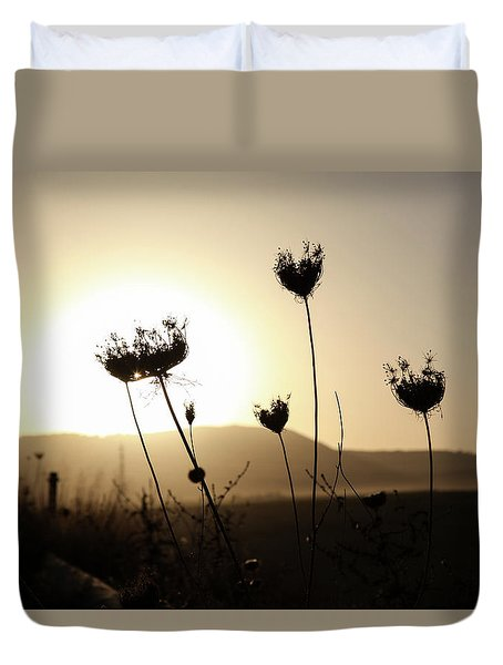 Duvet Cover featuring the photograph Sunset On Galilee Road by Yoel Koskas