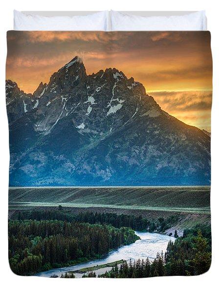 Sunset On Grand Teton And Snake River Duvet Cover