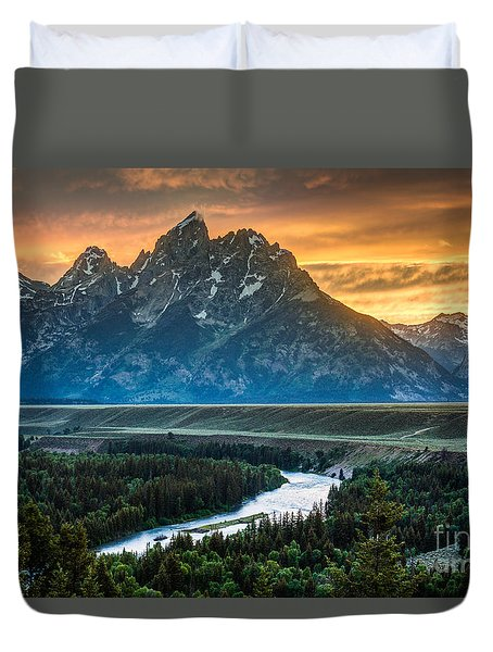 Sunset On Grand Teton And Snake River Duvet Cover