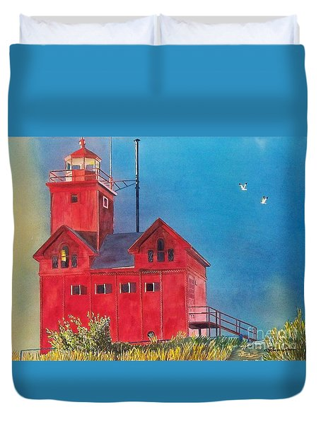 Duvet Cover featuring the painting Sunset On Holland Light by LeAnne Sowa