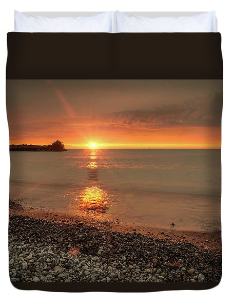 Sunset On Huron Lake Duvet Cover
