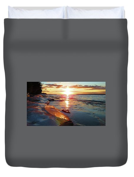 Sunset On Ice Duvet Cover