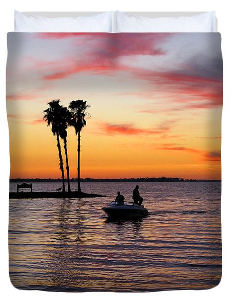 Sunset On Lake Dora At Mount Dora Florida Duvet Cover