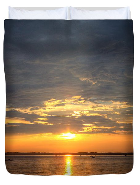 Sunset On Lake Hartwell Duvet Cover by Lynne Jenkins