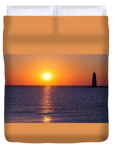 Duvet Cover featuring the photograph Sunset On Lake Michigan by Bruce Patrick Smith