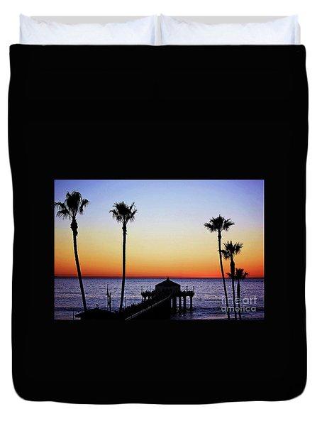 Sunset On Manhattan Beach Pier Duvet Cover