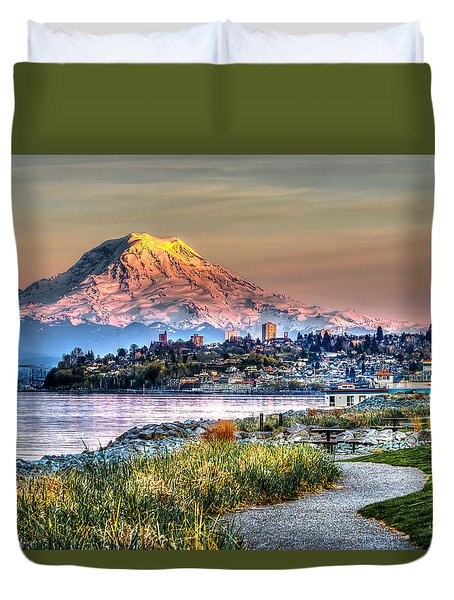 Sunset On Mt Rainier And Point Ruston Duvet Cover by Rob Green