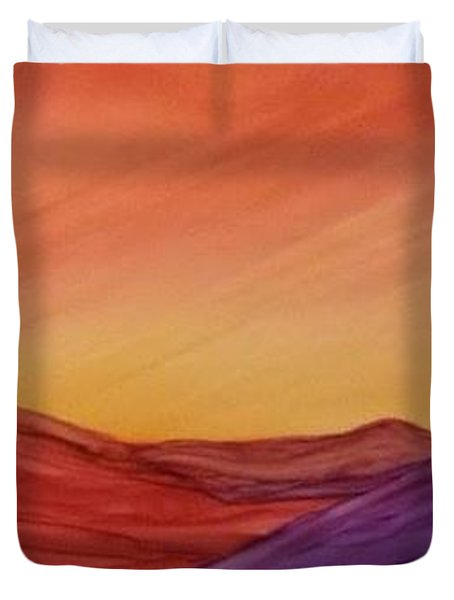 Sunset On Red And Purple Hills Duvet Cover