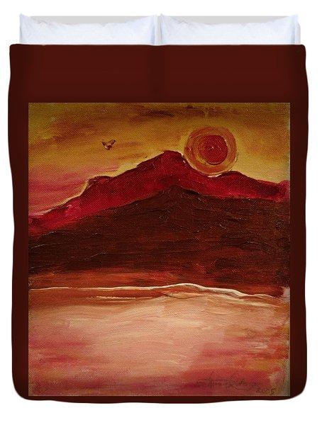 Sunset On Red Mountain Duvet Cover
