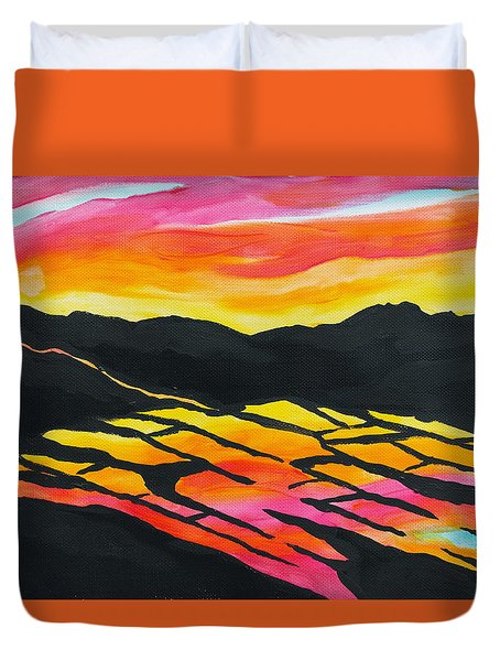 Sunset On Rice Fields I Duvet Cover by Michele Myers
