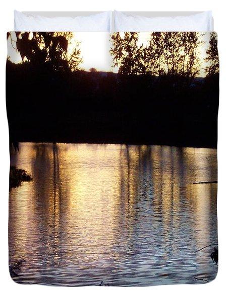Sunset On River Duvet Cover