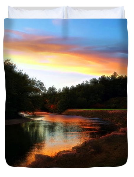Sunset On Saco River Duvet Cover