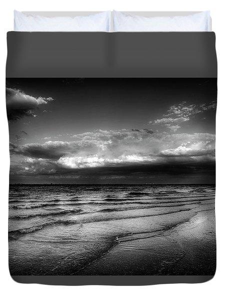 Sunset On Sanibel In Black And White Duvet Cover