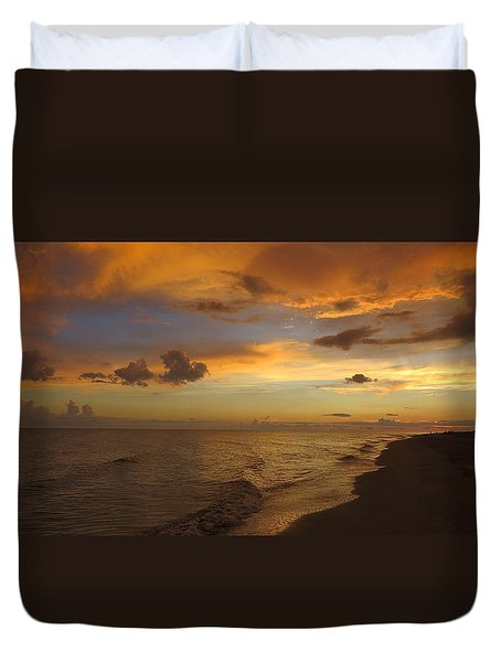 Duvet Cover featuring the photograph Sunset On Sanibel Island by Melinda Saminski